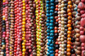 Colorful Rows of Beads Royalty Free Stock Photo