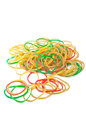 Colorful rubber bands on white background Stock Images