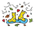 Colorful rubber boots doodle drawing autumn concept
