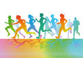 Colorful running figures illustration of people in silhouette profile Stock Photography