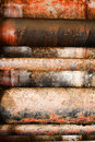 Colorful rusty concrete pipes Stock Images