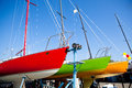 Colorful Sailboats in Dry Dock Royalty Free Stock Photo