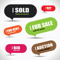 Colorful sale bubble set fun and modern with rent and similar labels Royalty Free Stock Photos