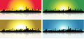 Colorful San Francisco Skyline Set Royalty Free Stock Photos
