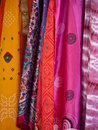 Colorful scarfs at an outdoor market Stock Images