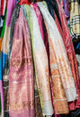 Colorful scarfs for sale outdoor Royalty Free Stock Image
