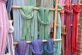 Colorful Scarves on Bamboo Display Royalty Free Stock Photography