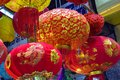 Colorful scene, friendly vendor on Hang Ma lantern street, lantern at open air market, traditional culture on mid autumn, Vietnam Royalty Free Stock Photo