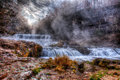 Colorful scenic waterfall in hdr river and powerful Royalty Free Stock Images