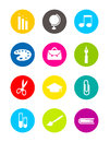 Colorful school rounded icons isolated collection of Stock Photos