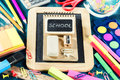 Colorful school supplies. Back to school
