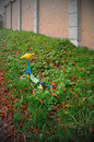 Colorful scooter toy in the grass Royalty Free Stock Photo