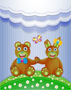 Colorful scrapbook with bunny and bear illustration version Stock Image