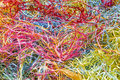 Colorful scraps of paper lots shredded by a shredder Stock Photo