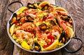 Colorful Seafood Paella Dish with Shellfish Royalty Free Stock Photo
