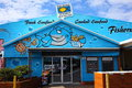 Colorful seafood shack a festive and building where you get fresh in coffs harbour australia Royalty Free Stock Photos