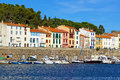 Colorful seafront houses in the mediterranean fishing port of port vendres roussillon pyrenees orientales vermilion coast france Stock Image