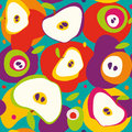 Colorful seamless apple halves and spots pattern