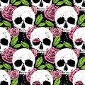 Colorful seamless background with skull, leaf and rose Royalty Free Stock Photo