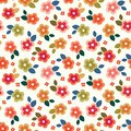 Colorful seamless floral mini print on cream background