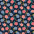 Colorful seamless floral mini print on dark navy background