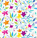 Colorful seamless floral pattern on white background Stock Image