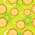 Colorful seamless pattern with abstract slice pineapple, circles and dots. Summer motif for card, textile, banners.
