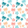 Colorful seamless pattern background illustration with palm trees and hibiscus flowers Royalty Free Stock Photo