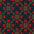 Colorful seamless pattern background with monkeys. Symbol of 2016 year. Red monkey texture with gold floral ornament. Royalty Free Stock Photo