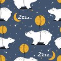 Colorful seamless pattern with bears, moon, stars. Decorative cute background with animals