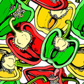 Colorful seamless pattern with bell pepper