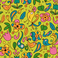 Colorful seamless pattern birds flowers Royalty Free Stock Photos