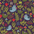 Colorful seamless pattern with birds and flowers vector illustration of nature Stock Image