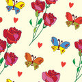 Colorful seamless pattern with butterfly, rose and Royalty Free Stock Photo