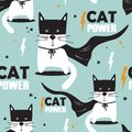 Colorful seamless pattern with cats, stars. Cat power