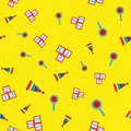 Colorful seamless pattern with children`s toys. Repetitive pyramids, rattles, cubes with numbers.