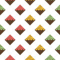 Colorful seamless pattern. Chocolate waffles with glaze and spri