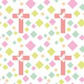 Colorful seamless pattern with Christian symbols. Bible, church and religious elements.