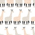 Colorful seamless pattern with cute llamas