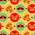 Colorful seamless pattern with cute tigers baby Stock Photo
