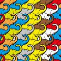 Colorful seamless pattern with elephants.