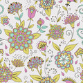 Colorful seamless pattern with flowers Stock Images