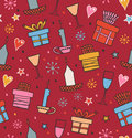 Colorful seamless pattern with gifts candles goblets endless decorative romantic background boxes of presents hand drawn Stock Photos