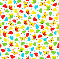 Colorful seamless, pattern with  heart and butterfly Royalty Free Stock Photo
