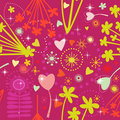 Colorful seamless pattern. Heart in flowers, vecto Stock Photo