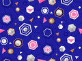 Colorful seamless pattern with hexagons and different complex sh