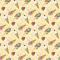 Colorful seamless pattern with ice cream.