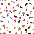 Colorful seamless pattern with lollipops and ice cream in flat style.