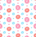 Colorful Seamless Pattern with Lollipops, Swirl Sweets