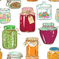 Colorful seamless pattern of mason jars with jam honey cookies confiture canned olives and sweets Stock Photo
